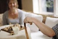 チェスと女性とステッキを持つ男性の腕