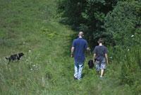 森の中の大人と子供と犬