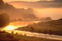 The River Findhorn at Drynachan on a misty autumn morning. S