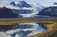 Skaftafellsjokull reflected in a pond. Skaftafell National P