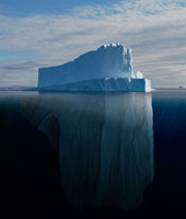 Tabular Iceberg showing the portion underwater that is sculp