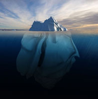 Melting Iceberg showing the portion underwater that is sculp