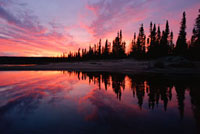 A dramatic autumn sunset at Burnwood Lake in southern Labrad