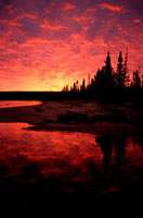 A dramatic autumn sunset at Burnwood Lake. Southern Labrador