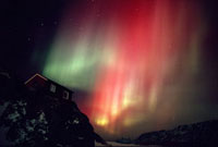 Aurora Borealis. Northern Lights. With rare red band. Hillsi