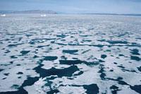 An aerial view of melting sea ice in Inglefield Bay. Northwe