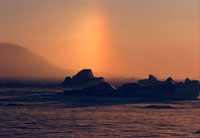 Caused by ice crystals in the atmosphere,a Parhelion above