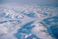 Aerial view of the Ush Urekchen Mountains in central Chukotk