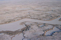 Aerial view of tundra in the autumn on the Yamal Peninsula.
