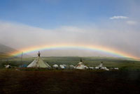 A rainbow over a Khanty reindeer herders' camp in the Polar