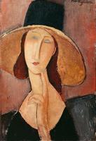 Portrait of Jeanne Hebuterne in a large hat, c.1918-19