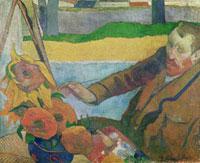 Van Gogh painting Sunflowers,1888 /ひまわりを描くフィンセン 22040004647| 写真素材・ストックフォト・画像・イラスト素材|アマナイメージズ