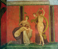 Scourged Woman and Dancer with Cymbals, South Wall, Oecus 5, Second Pompeiian Style (fresco) 22040013498| 写真素材・ストックフォト・画像・イラスト素材|アマナイメージズ