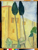 Cypress Trees and House, 1919