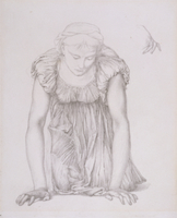 Study of a kneeling girl for 'The Mirror of Venus', c.1873