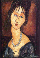 Jeanne Hebuterne with a necklace, 1917