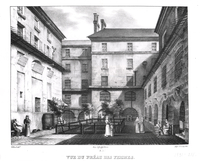 View of the Women�fs Yard at the Conciergerie Prison, engraved by Alphonse Urruty (1800-70) c.1831 (litho) (b/w photo)