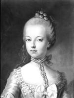 Portrait of Marie-Antoinette (1755-93) of Habsbourg-Lorraine, c.1771 (pastel on paper) (b/w photo)