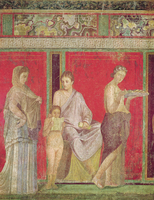 The Catechism with a Young Girl Reading and the Initiate Making an Offering, North Wall, Oecus 5, c.60-50 BC (fresco) 22040214735| 写真素材・ストックフォト・画像・イラスト素材|アマナイメージズ