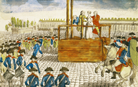 Execution of Marie-Antoinette (1755-93) in the Place de la Revolution, 16th October 1793 (coloured engraving)