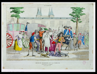Louis XVI (1754-93) and his family taken to the Temple, 13th August 1792 (coloured engraving)