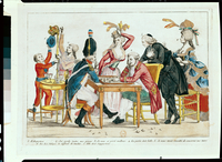 Caricature of Louis XVI (1754-93) playing chess with a soldier of the National Guard (coloured engraving)