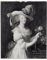 Copy of a Portrait of Marie-Antoinette (1755-93) after 1783 (oil on canvas) (b/w photo)