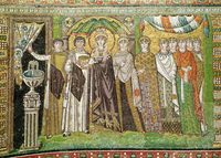 Empress Theodora with her court of two ministers and seven women, c.547 AD (mosaic) 22040223666| 写真素材・ストックフォト・画像・イラスト素材|アマナイメージズ