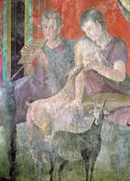 Satyr Playing the Panpipes and Nymph Breastfeeding a Goat, 60-50 BC (fresco) 22040227144| 写真素材・ストックフォト・画像・イラスト素材|アマナイメージズ