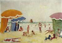 Deauville Beach; Plage de Deauville, c.1935 (oil on canvas)