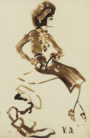 Coco Chanel, 1940-1950 (watercolour, brush and black ink wit