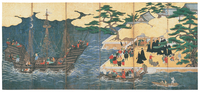 Arrival of the Southern Barbarians (Portuguese traders at Nagasaki), Kano school, early 17th century