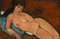 Nude on a Blue Cushion, 1917 (oil on linen)