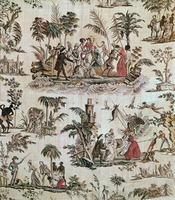 Illustrations of incidents from the novel 'Paul et Virginie', Toile de Nantes, c.1800 (printed cotton)
