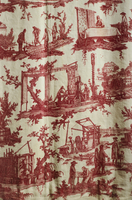 18th Toile de Jouy depicting manufacture work at the factory, after designs by Jean Baptiste Houet, 1784.