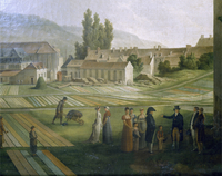The Jouy factory, 1806, detail, by Jean-Baptiste Huet.
