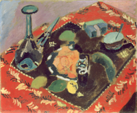 Dishes and Fruit on a Red and Black Carpet, 1906 (oil on canvas)