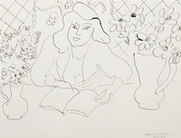 Model with a Book, 1944 (ink on wove paper)