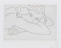 Head and Arms of Reclining Nude (etching)