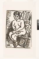Small Black Woodcut (Nude Seated in a Folding Chair)