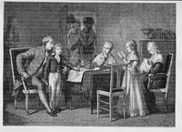 The Pastimes of the French Royal Family in the Temple, engraved by Jonnard (engraving)