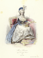 Marie Antoinette, Queen Consort of Louis XVI of France (coloured engraving)