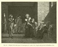 Depart de la reine pour la Conciergerie, le 2 aout 1793; d'apres une gravure de Bouillon, 1795 (engraving)