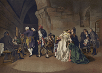 The parting of Louis XVI and Marie Antoinette, 1792 (chromolitho)