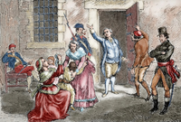 Louis XVI (1754-1793) taking leave of his family. Engraving. coloured.