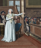 Marie Antoinette (1755-1793) before the court (colour engraving)