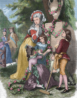 Marie Antoinette (1755-1793) with her children in Trianon, 1868 (colour engraving)