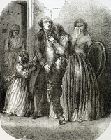 Louis XVI (1754-1793) taking leave of his family (engraving)