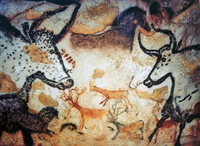 France: Upper Paleolithic cave painting of animals from the Lascaux Cave complex, Dordogne, France, estimated to be c. 17,300 y