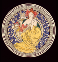 Decorative plate with the symbol of the Paris International Exhibition, 1897 (ceramic)